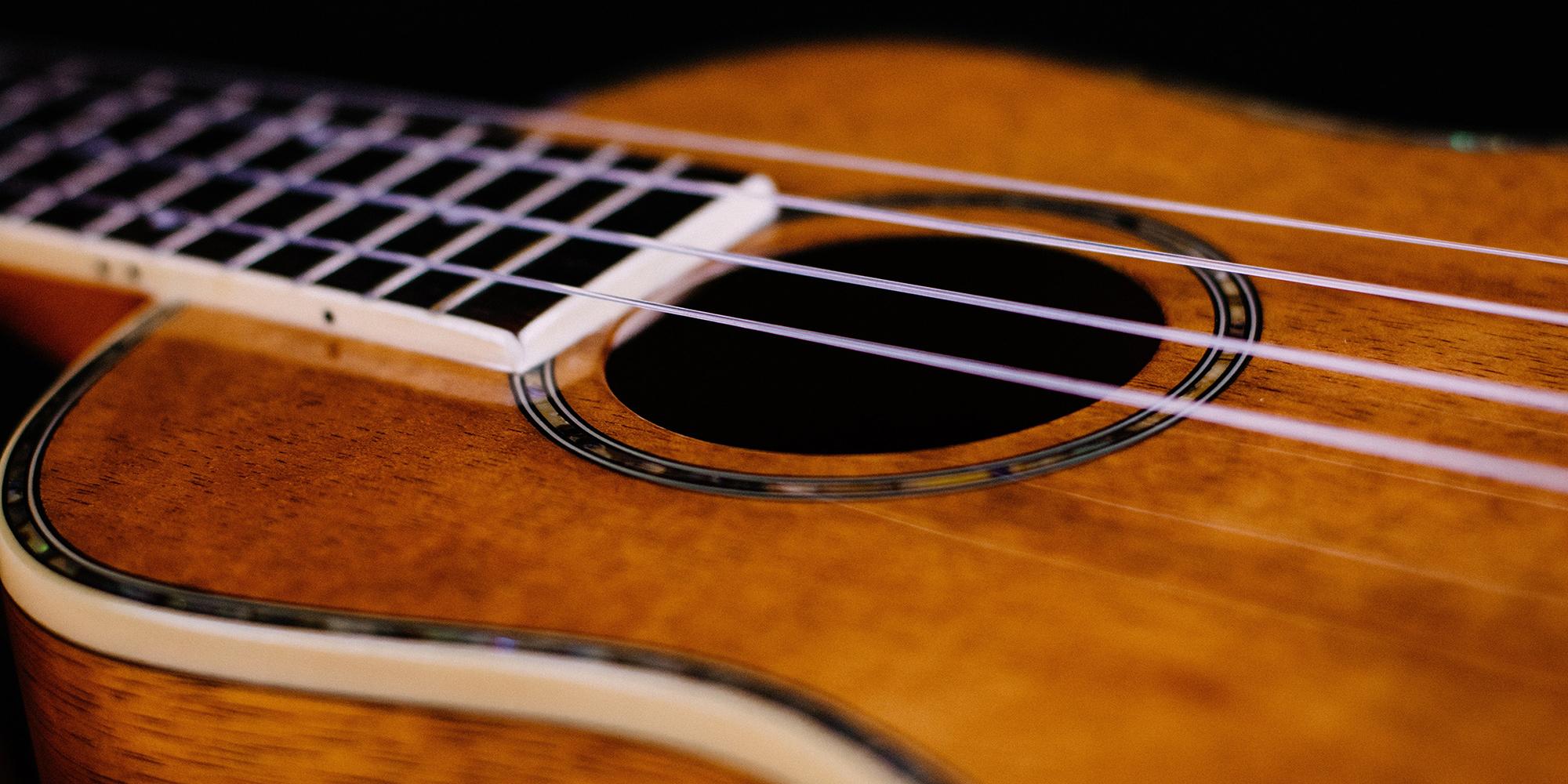 Up close photo of a guitar