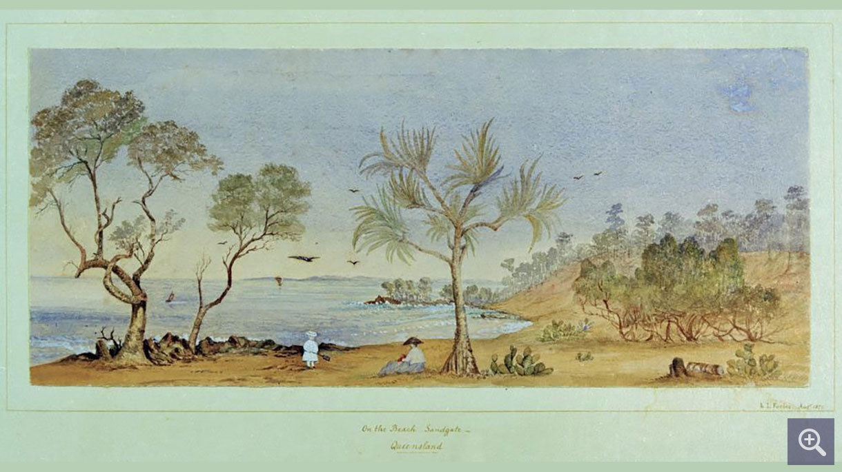 Louisa Forbes, 1871 watercolour of the small seaside resort of Sandgate, when it was rapidly gaining in popularity as a watering place for Brisbane's day trippers and holiday makers. Image courtesy of SLQ.