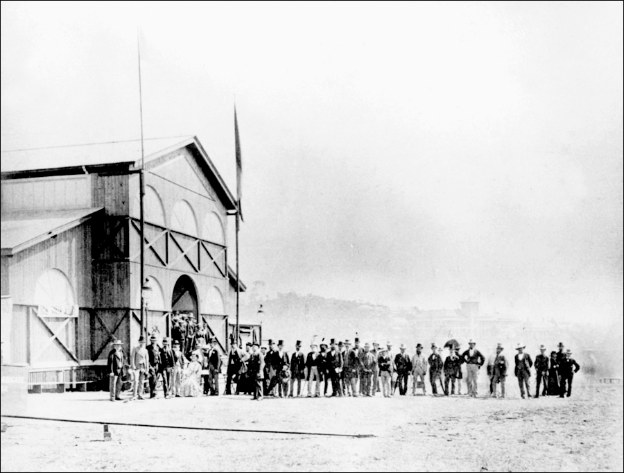 Officials gather to await the Governor's arrival. Image courtesy of the John Oxley Library, SLQ.
